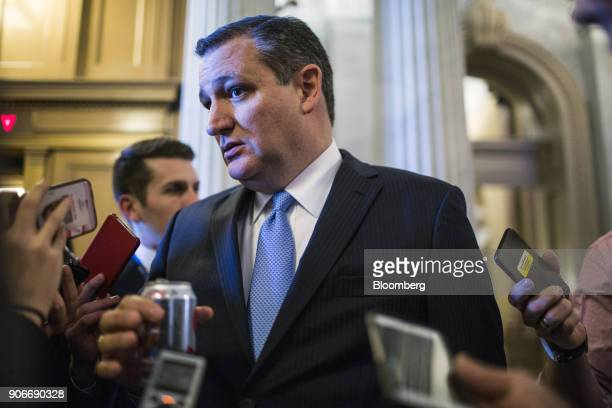 Senator Ted Cruz a Republican from Texas speaks to members of the media near the Senate Chamber on Capitol Hill in Washington DC US on Thursday Jan...