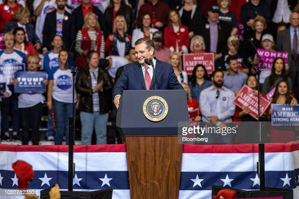 Senator Ted Cruz a Republican from Texas stands at the podium during a campaign rally with US President Donald Trump not pictured in Houston Texas US...