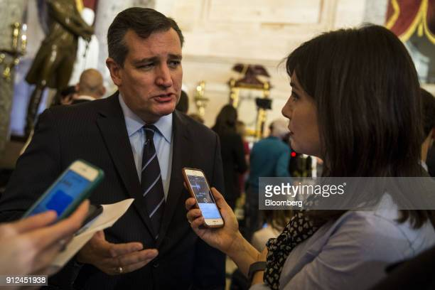 Senator Ted Cruz a Republican from Texas to members of the media following a State of the Union address by US President Donald Trump not pictured to...