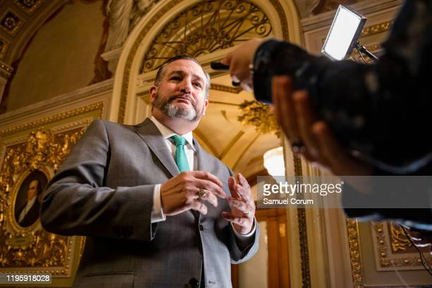 Senator Ted Cruz answers questions from reporters during a recess in the Senate impeachment trial of President Donald Trump on January 24 2020 in...