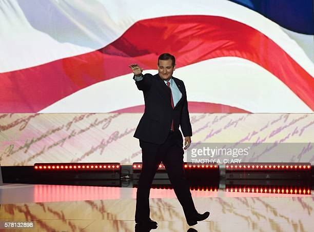 US Senator Ted Cruz of Texas arrives to speaks on the third day of the Republican National Convention in Cleveland Ohio on July 20 2016 / AFP /...