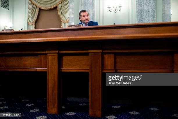 Senator Ted Cruz, R-Texas, questions Gina Raimondo, nominee for Secretary of Commerce, during her Senate Commerce, Science, and Transportation...