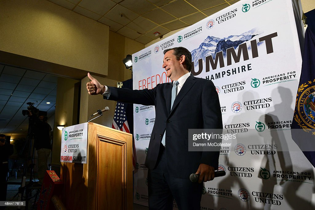 U.S. Senator Ted Cruz (R-TX) speaks at the Freedom Summit at The Executive Court Banquet Facility April 12, 2014 in Manchester, New Hampshire. The Freedom Summit held its inaugural event where national conservative leaders bring together grassroots activists on the eve of tax day. Photo by Darren McCollester/Getty Images)