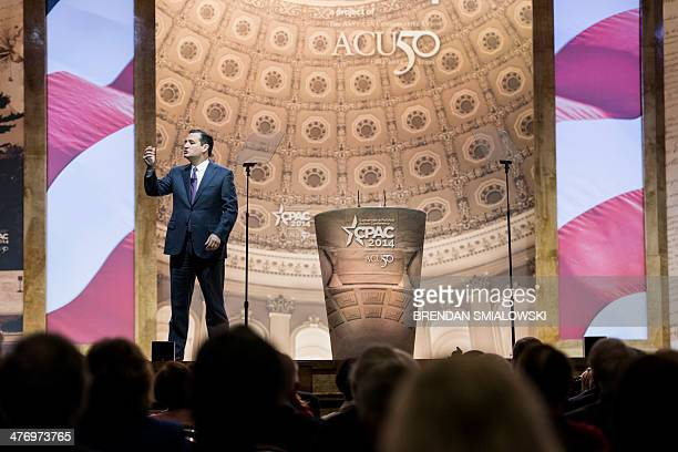 US Senator Ted Cruz speaks during the American Conservative Union Conference March 6 2014 in National Harbor Maryland The annual conference is a...