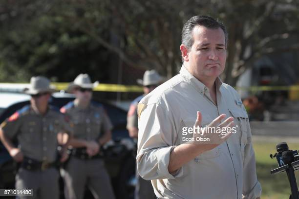 S Senator Ted Cruz speaks to the press near the First Baptist Church of Sutherland Springs on November 6 2017 in Sutherland Springs Texas On November...