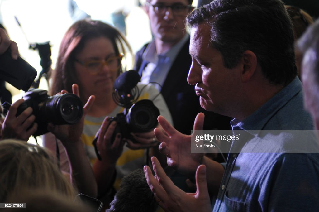 Senator Ted Cruz (R-TX) talks to gathered media at a visit of the refinery of Philadelphia Energy Solutions, in South Philadelphia, PA, on February 21, 2018.