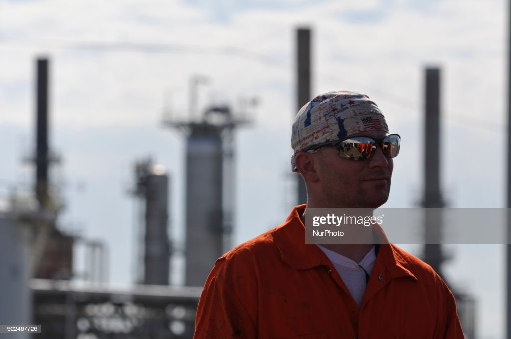 Senator Ted Cruz (R-TX) visits the refinery of Philadelphia Energy Solutions, in South Philadelphia, PA, on February 21, 2018.
