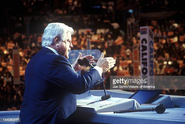 Senator Ted Kennedy address the crowd at the 2000 Democratic Convention at the Staples Center Los Angeles CA