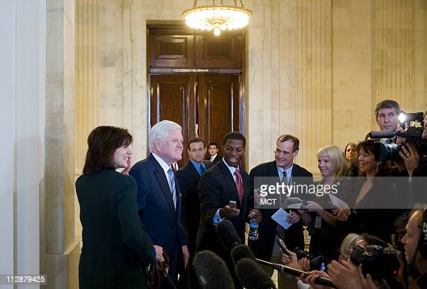 Senator Ted Kennedy and wife Victoria Anne Reggie stop to speak to reporters in the Russell Senate Office Building in Washington, D.C., Monday,...