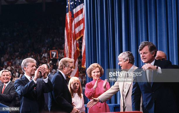 Senator Ted Kennedy appears on stage with President Jimmy Carter during the 1980 Democratic National Convention at Madison Square Garden Kennedy ran...
