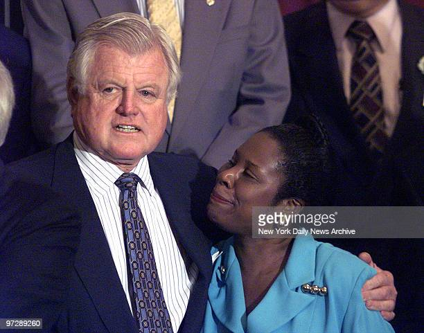 Senator Ted Kennedy gets a comforting word from Texas Rep Sheila Jackson at a Democratic Unity rally in the Russell Senate office building The only...