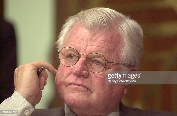 Senator Ted Kennedy of Massachusetts attending hearings and listening to testimony by Attorney General John Ashcroft