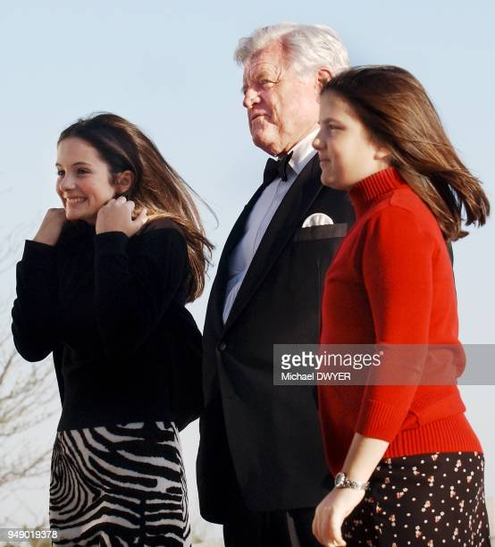 US Senator Ted Kennedy stands with nieces Rose left and Tatiana Schlossberg outside the John F Kennedy Library