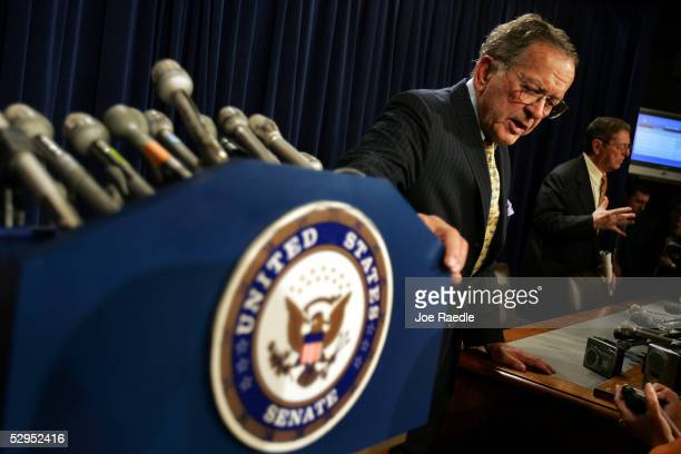 Senator Ted Stevens and Senator Pete V Domenici speak to the press as they address the filibuster rules May 19 2005 on Capitol Hill in Washington DC...