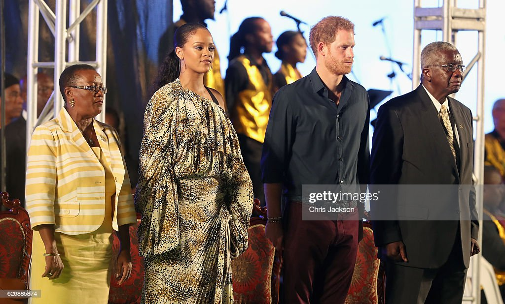 Senator, the Honourable Maxine McClean, singer Rihanna, Prince Harry and Prime Minister of Barbados Freundel Stuart attend a Golden Anniversary Spectacular Mega Concert at the Kensington Oval Cricket Ground on day 10 of an official visit to the Caribbean on November 30, 2016 in Bridgetown, Barbados. Prince Harry's visit to The Caribbean marks the 35th Anniversary of Independence in Antigua and Barbuda and the 50th Anniversary of Independence in Barbados and Guyana.
