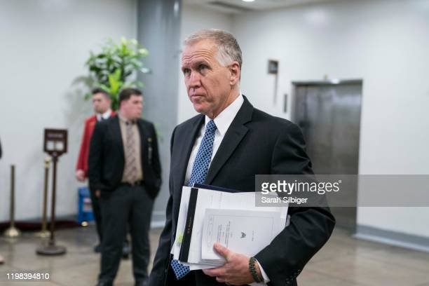 Senator Thom Tillis walks to the Senate subway in the U.S. Capitol on February 3, 2020 in Washington, United States. Closing arguments began Monday...