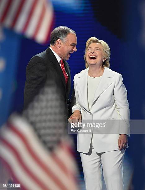 Senator Tim Kaine and Democratic Nominee Hillary Clinton take their bows at the 2016 Democratic National ConventionDay 4 at Wells Fargo Center on...
