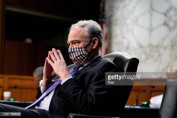 Senator Tim Kaine, D-Va., listens during a hearing, with the Senate Committee on Health, Education, Labor, and Pensions, on the Covid-19 response, on...