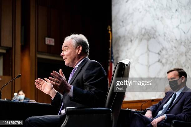Senator Tim Kaine, D-Va., speaks during a hearing with the Senate Committee on Health, Education, Labor, and Pensions, on the Covid-19 response, on...