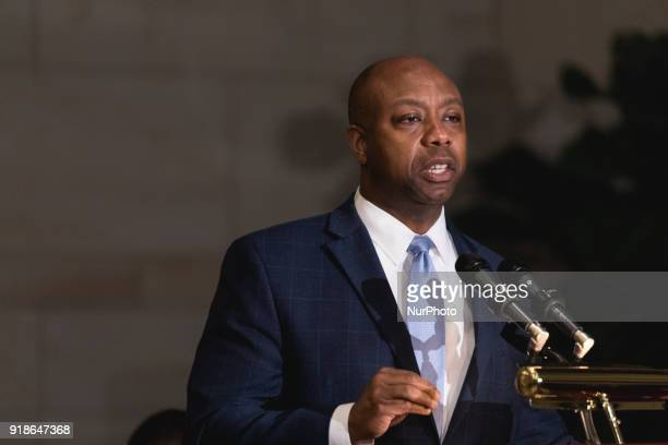 Senator Tim Scott speaks at the Commemoration of the Bicentennial of the Birth of Frederick Douglass in Emancipation Hall of the US Capitol on...