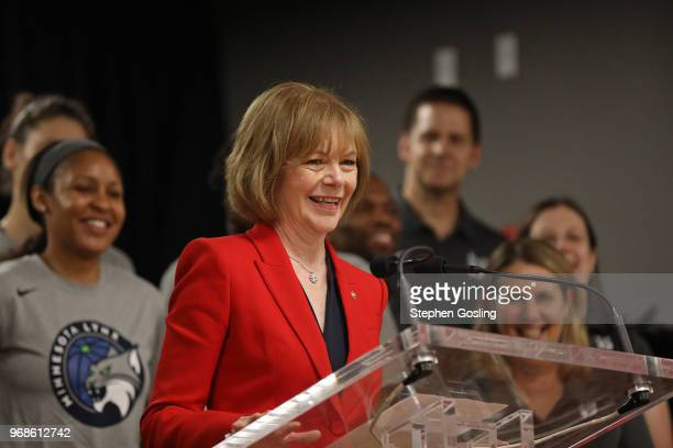 Senator Tina Smith speaks during a press conference after the Minnesota Lynx participate in a community event giving away shoes and socks at Payne...