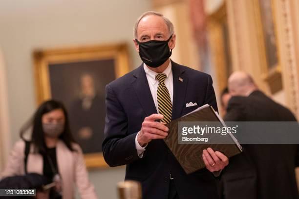 Senator Tom Carper, a Democrat from Delaware, arrives at the U.S. Capitol in Washington, D.C., U.S., on Wednesday, Feb. 10, 2021. House Democrats...