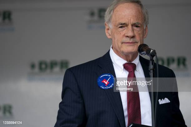 Senator Tom Carper, a Democrat from Delaware, speaks at a rally for D.C. Statehood near the U.S. Capitol in Washington, D.C., U.S., on Tuesday, June...