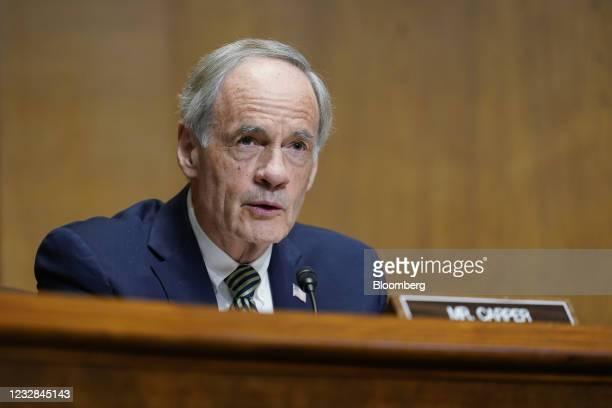 Senator Tom Carper, a Democrat from Delaware, speaks during a Senate Finance Committee hearing in Washington, D.C., U.S., on Wednesday, May 12, 2021....