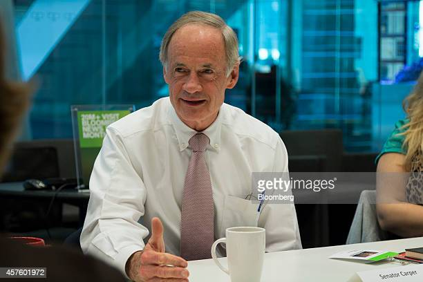 Senator Tom Carper, a Democrat from Delaware, speaks during an interview in New York, U.S., on Tuesday, Oct. 21, 2014. The chairman of the Senate...