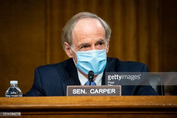 Senator Tom Carper, and ranking member of the Senate Environment and Public Works Committee, speaks during a hearing, May 20, 2020 on Capitol Hill in...