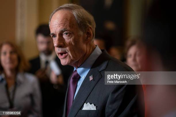 Senator Tom Carper , speaks to the media during a press conference following the Senate Republican Leadership lunches on July 16, 2019 in Washington,...