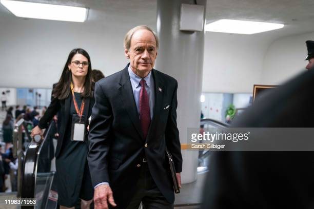 Senator Tom Carper walks though the Senate subway in the U.S. Capitol on February 3, 2020 in Washington, DC. Closing arguments begin Monday after the...