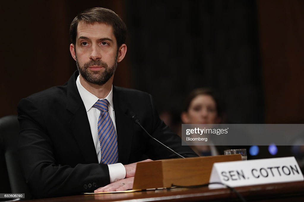 Senator Tom Cotton, a Republican from Arkansas, introduces Representative Mick Mulvaney, a Republican from South Carolina and Office of Management and Budget director nominee for U.S. President Donald Trump, not pictured, during a Senate Governmental Affairs Committee confirmation hearing in Washington, D.C., U.S., on Tuesday, Jan. 24, 2017. Mulvaney said Tuesday the nearly $20 trillion national debt needs to be 'addressed sooner rather than later' and that he would push Trump to break his campaign promises and cut Social Security and Medicare. Photographer: Aaron P. Bernstein/Bloomberg via Getty Images
