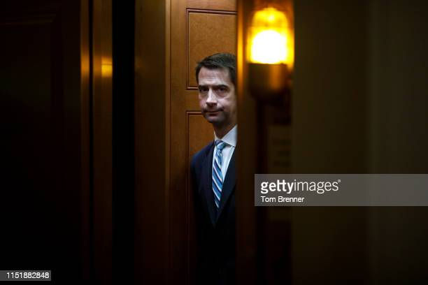 Senator Tom Cotton enters a Senators Only elevator before attending the Weekly Senate Policy Luncheon on June 25, 2019 on Capitol Hill in Washington,...