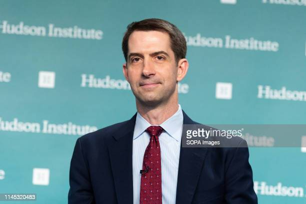 """Senator Tom Cotton speaking at the Hudson Institute about his new book """"Sacred Duty: A Soldiers Tour at Arlington Cemetery"""", in Washington, DC."""