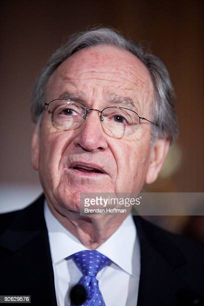 Senator Tom Harkin speaks at a news conference on health insurance reform and its impact on small businesses on November 3 2009 in Washington DC...