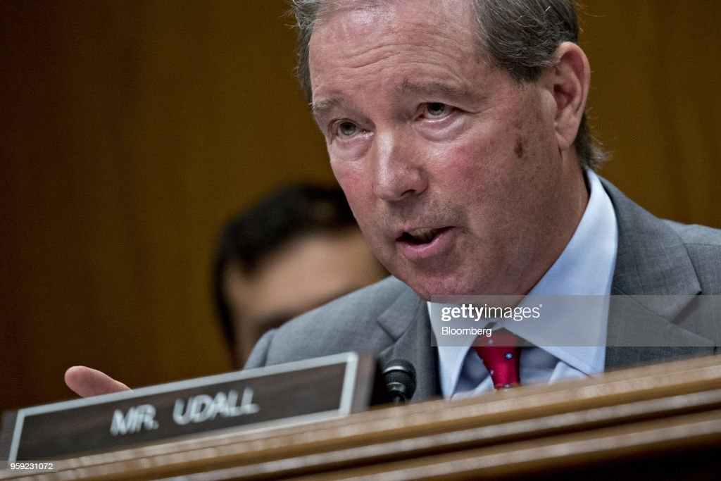 Senator Tom Udall, a Democrat from New Mexico, questions Scott Pruitt, administrator of the Environmental Protection Agency (EPA), not pictured, during a Senate Appropriations Subcommittee hearing in Washington, D.C., U.S., on Wednesday, May 16, 2018. Pruitt faced intense criticism in his first Senate testimony since a crush of ethical allegations that have put his job in jeopardy. Photographer: Andrew Harrer/Bloomberg via Getty Images