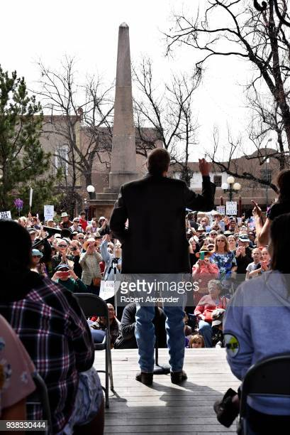 Senator Tom Udall of New Mexico addresses gun control advocates gathered at a 'March For Our Lives' rally in Santa Fe, New Mexico. The rally and...
