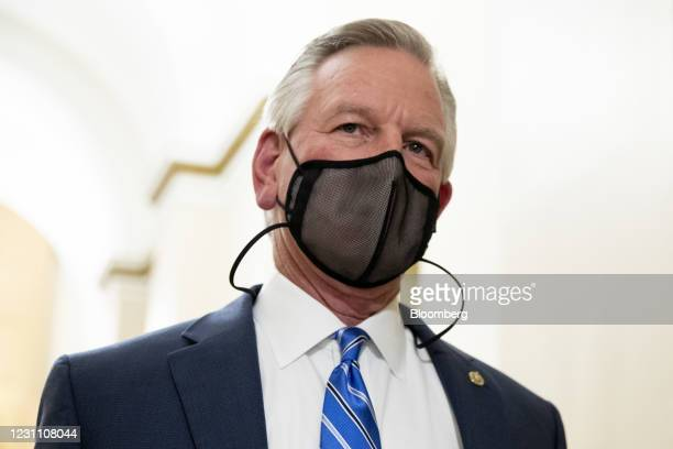 Senator Tommy Tuberville, a Republican from Alabama, speaks to members of the media at the U.S. Capitol in Washington, D.C., U.S., on Thursday, Feb....
