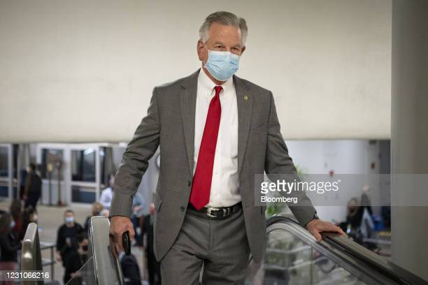 Senator Tommy Tuberville, a Republican from Alabama, walks through the Senate subway at the U.S. Capitol in Washington, D.C., U.S., on Tuesday, Feb....