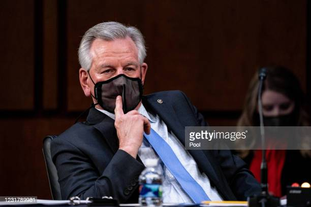 Senator Tommy Tuberville R-Ala., listens during a hearing, with the Senate Committee on Health, Education, Labor, and Pensions, on the Covid-19...