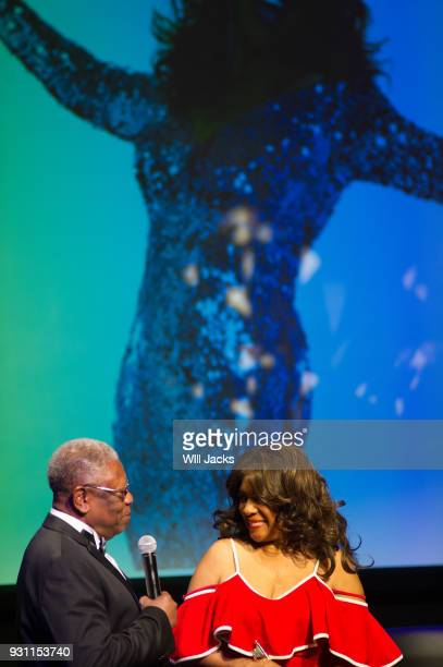 Senator Willie Simmons greets Mary Wilson at GRAMMY Museum Mississippi on March 9 2018 in Cleveland Mississippi