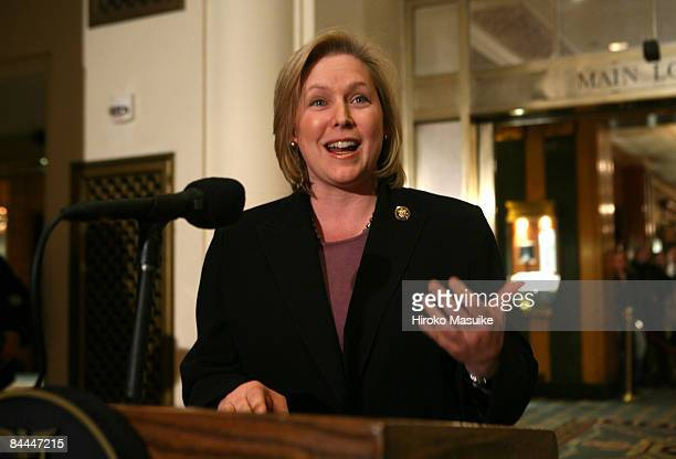 Senator-designate Rep. Kirsten Gillibrand speaks during a press conference with New York Gov. David A. Paterson after a lunch meeting with U.S. Sen....
