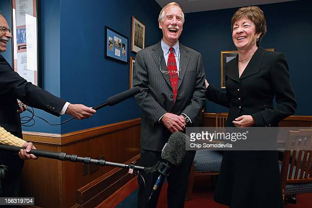 Senator-elect Angus King and Sen. Susan Collins share a laugh during a photo opportunity in Collins' Capitol Hill office November 13, 2012 in...