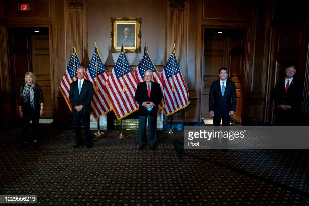 Senator-elect Cynthia Lummis , Senator-elect Tommy Tuberville , Senate Majority Leader Mitch McConnell , Senator-elect Bill Hagerty , and...