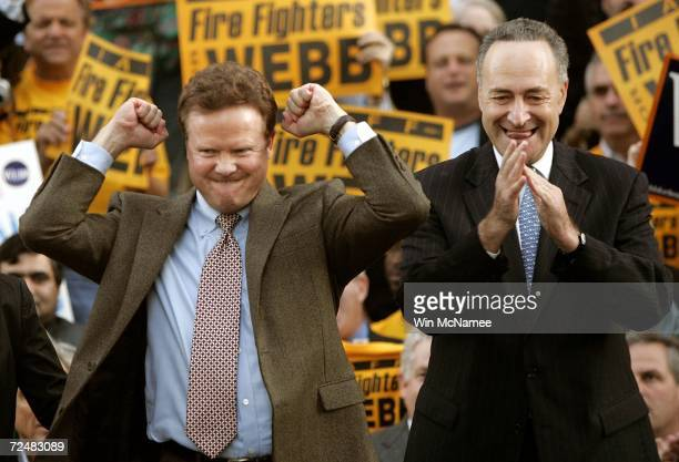 Senator-elect Jim Webb celebrates with Sen. Charles Schumer during a victory rally after his opponent, incumbent Sen. George Allen, conceded earlier...