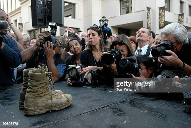 Senatorelect Jim Webb DVa son's combat boots that he campaigned in are photographed at a rally at Courthouse Plaza in Arlington in which he announced...