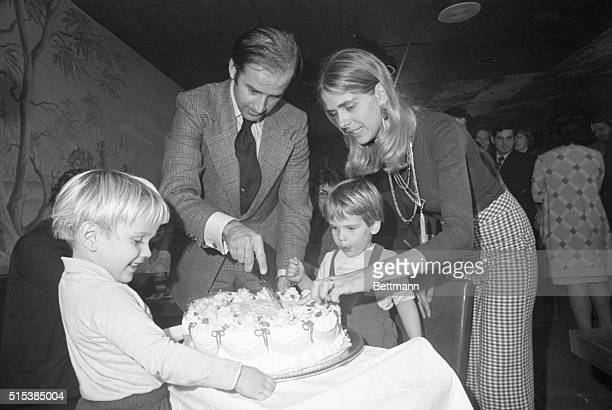 Senator-elect Joseph Biden and wife Nelia cut his 30th birthday cake at a party in Wilmington, November 20th. His son, Hunter waits for the first...