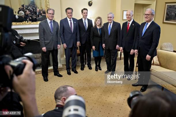 Senatorelect Kevin Cramer a Republican from North Dakota from right Rick Scott governor of Florida Senate Majority Leader Mitch McConnell a...