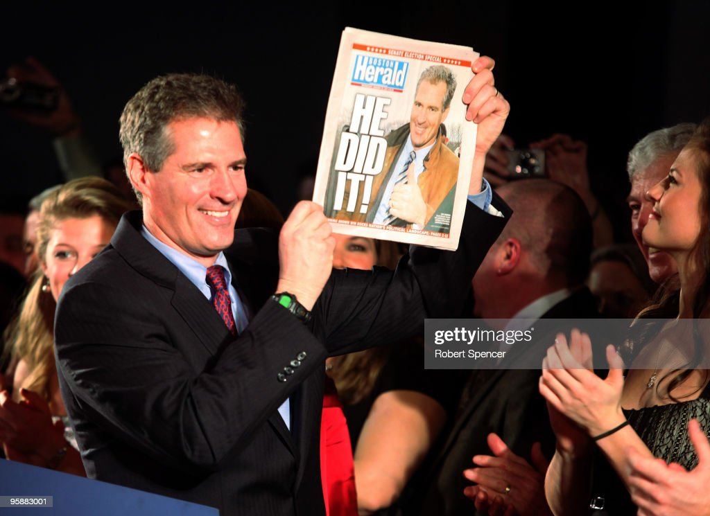 U.S. Senator-elect, Republican Scott Brown displays a special edition of the Boston Herald after winning the Massachusetts U.S. Senate seat January 19, 2010 in Boston, Massachusetts. Brown defeated Democrat Martha Coakley in a special election to fill the seat of late U.S. Senator Edward M. Kennedy.